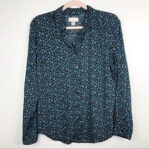 LOFT Outlet Floral Print Button Down Shirt Sz S